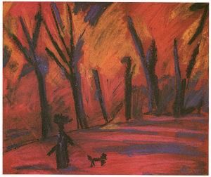 Dans la forêt (femme et chien)