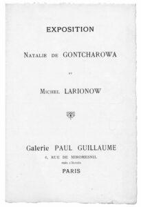 Catalogue de l'exposition de Mikhaïl Larionov et Natalia Gontcharova